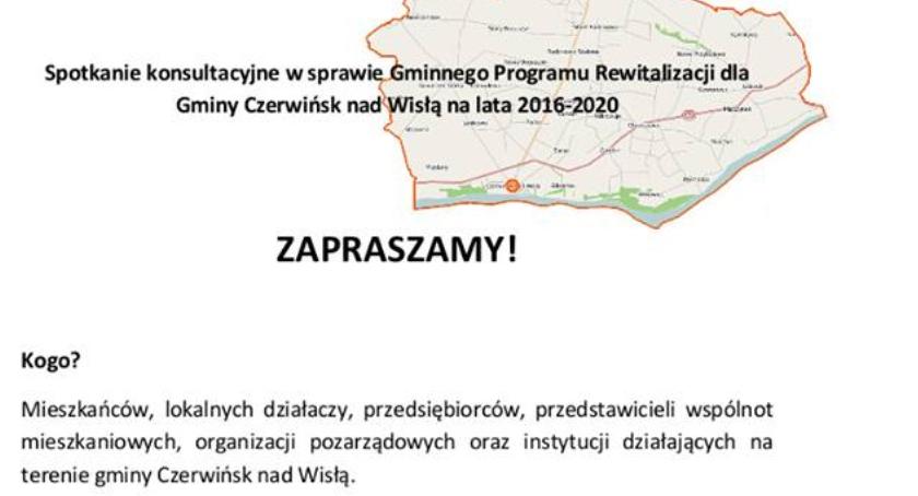 Spotkanie konsultacyjne w sprawie Gminnego Programu Rewitalizacji dla Gminy Czerwińsk.